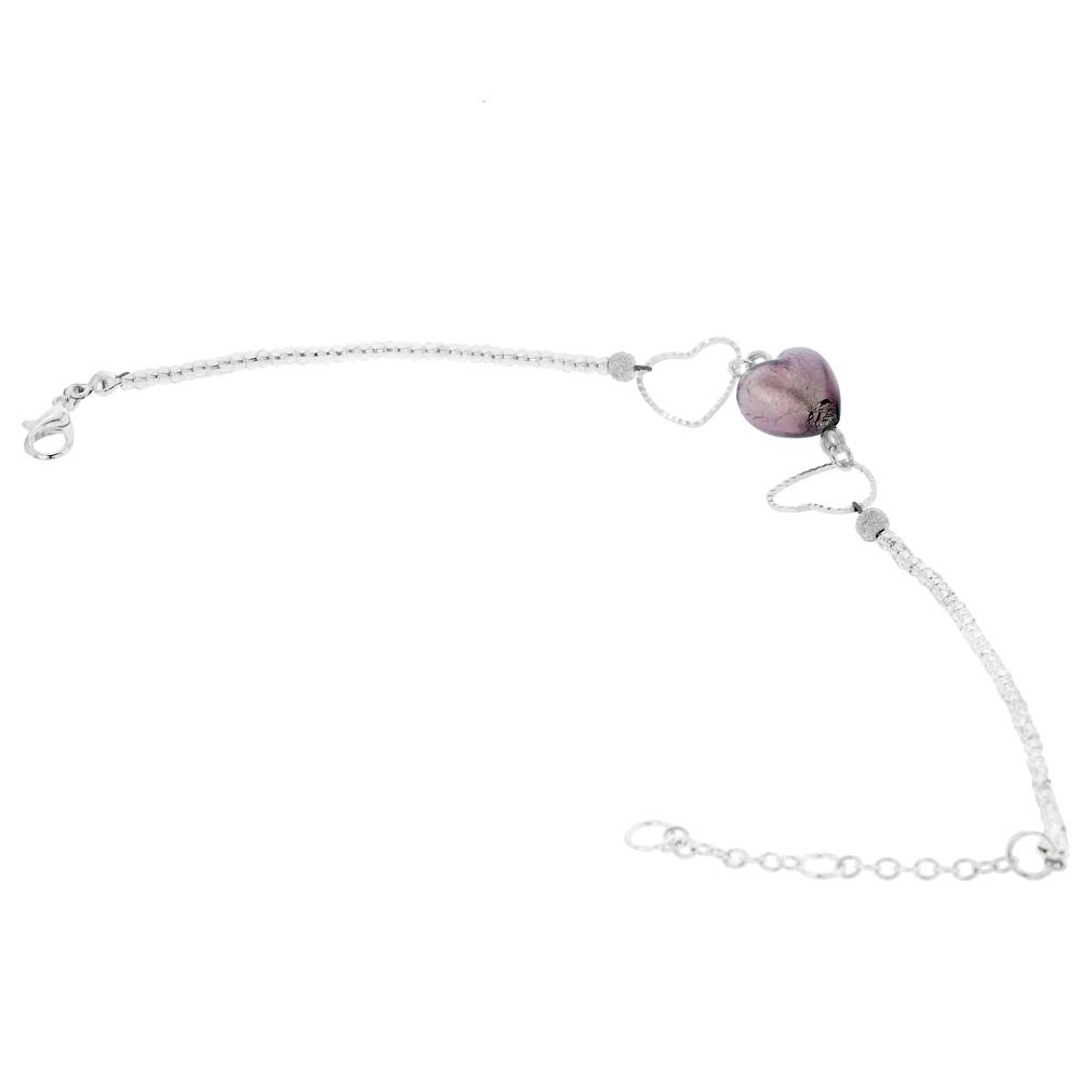 Venetian Wedding Purple Heart Murano Bracelet