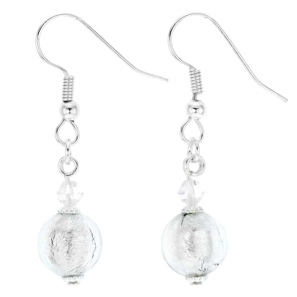 Murano Sparkling Ball Earrings - Silver White