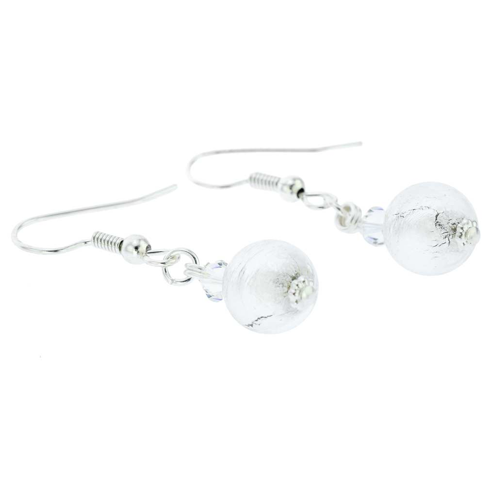 Murano Sparkling Ball Earrings - Silver White