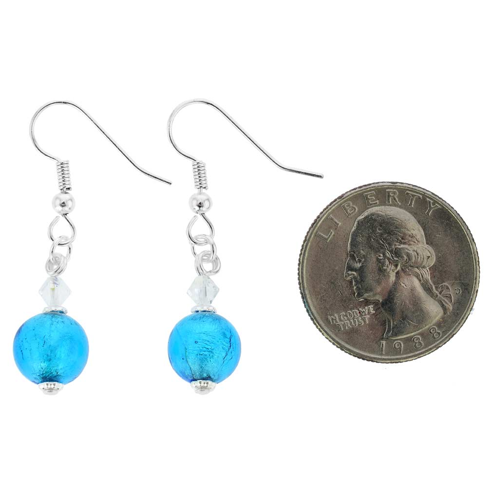 Murano Sparkling Ball Earrings - Aqua Blue