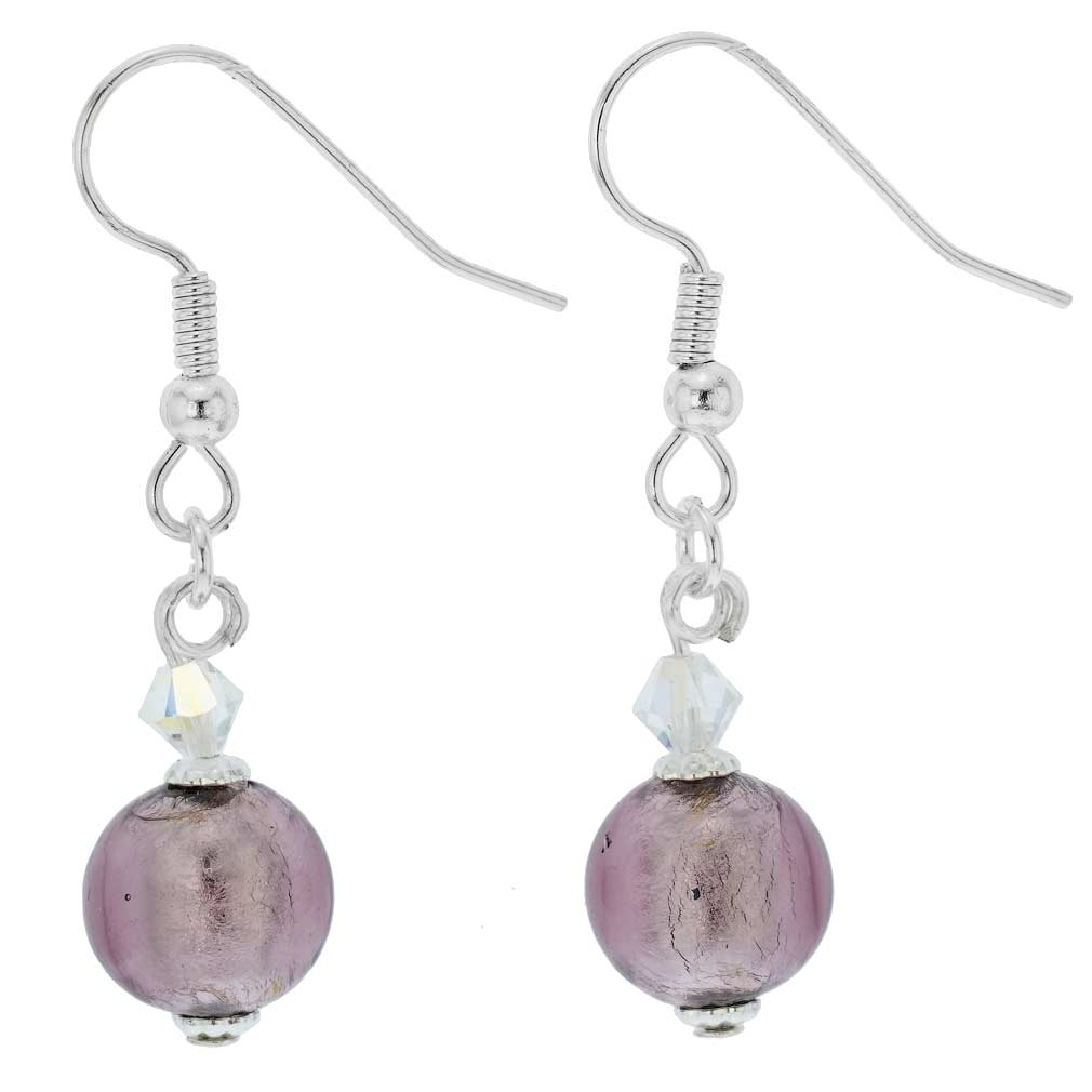 Murano Sparkling Ball Earrings - Light Purple