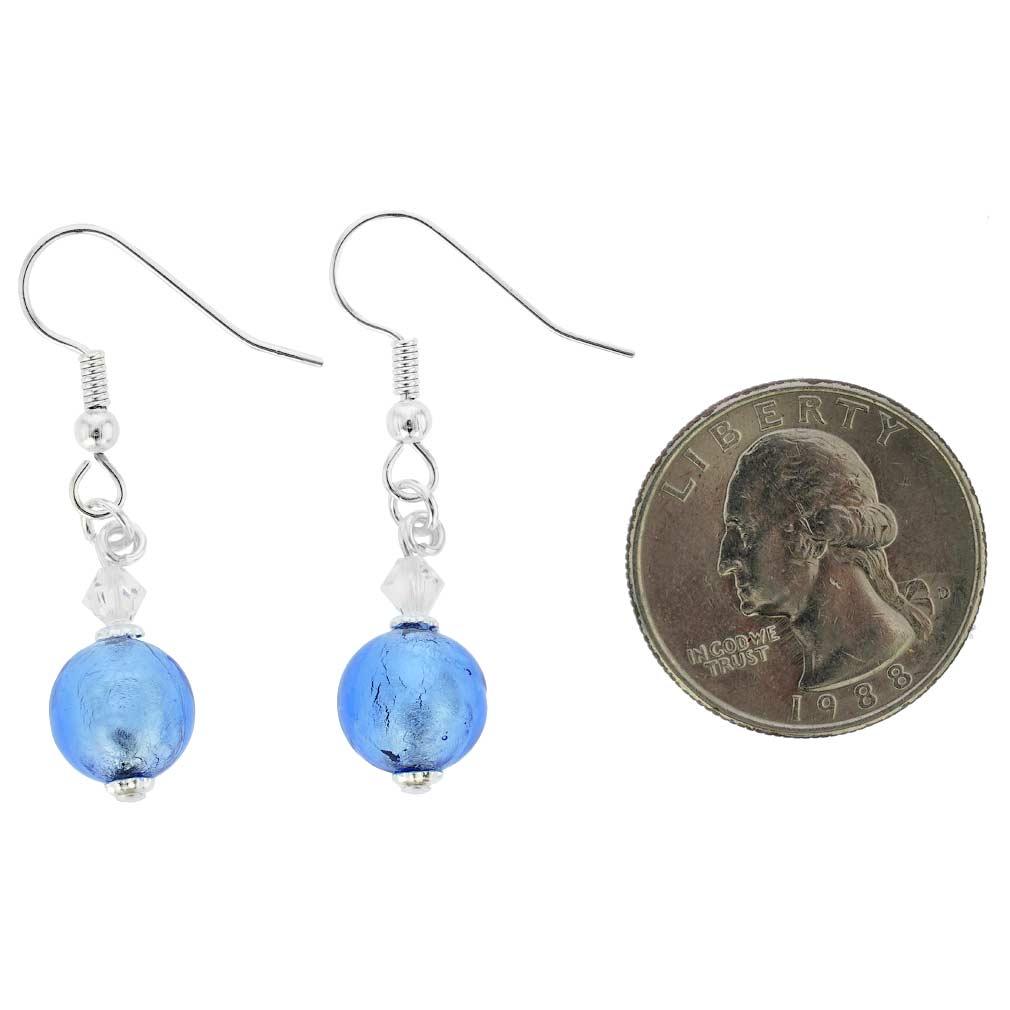 Murano Sparkling Ball Earrings - Sky Blue