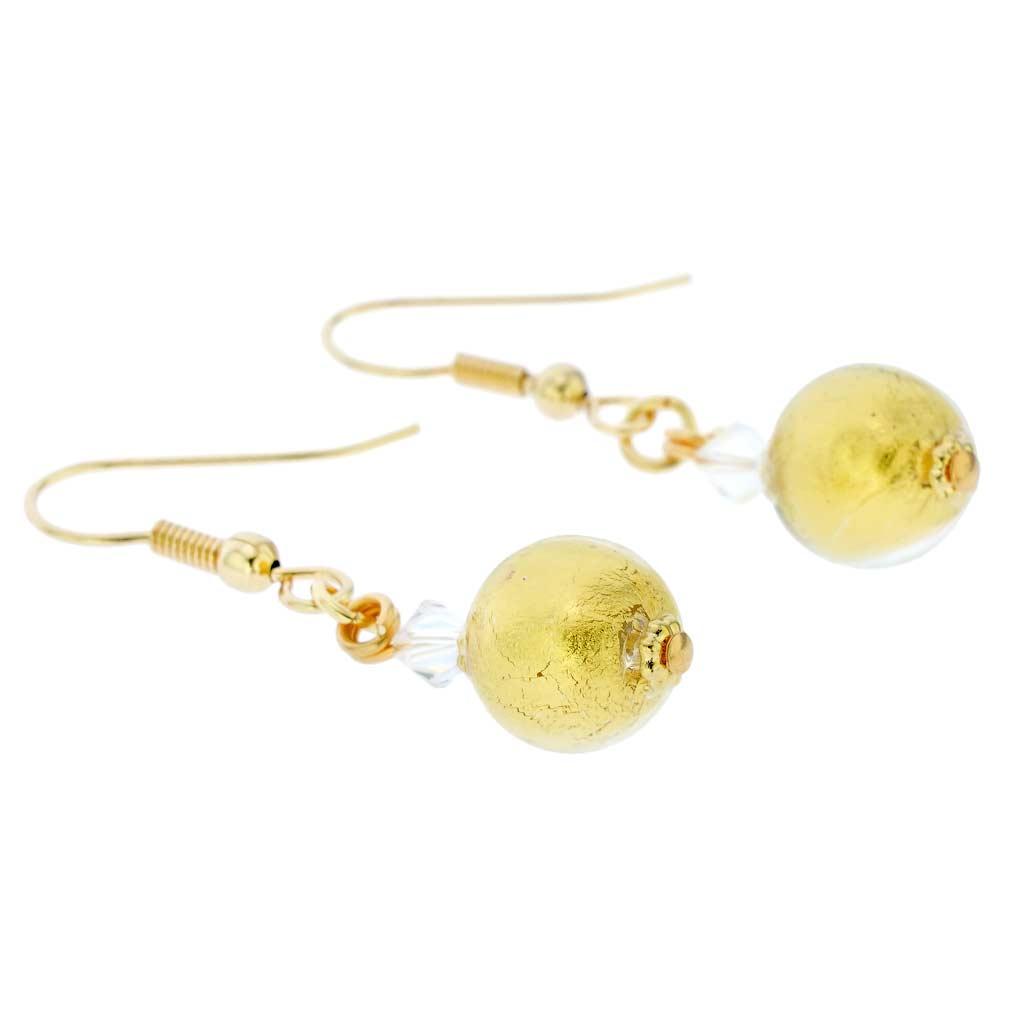 Murano Sparkling Ball Earrings - Liquid Gold