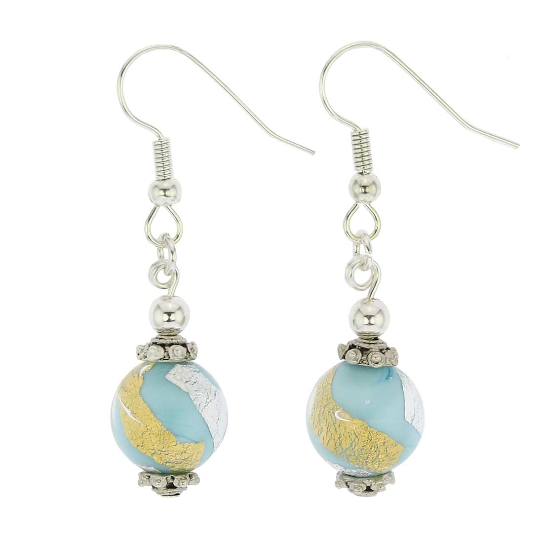 Antico Tesoro Balls Earrings - Turquoise Gold and Silver