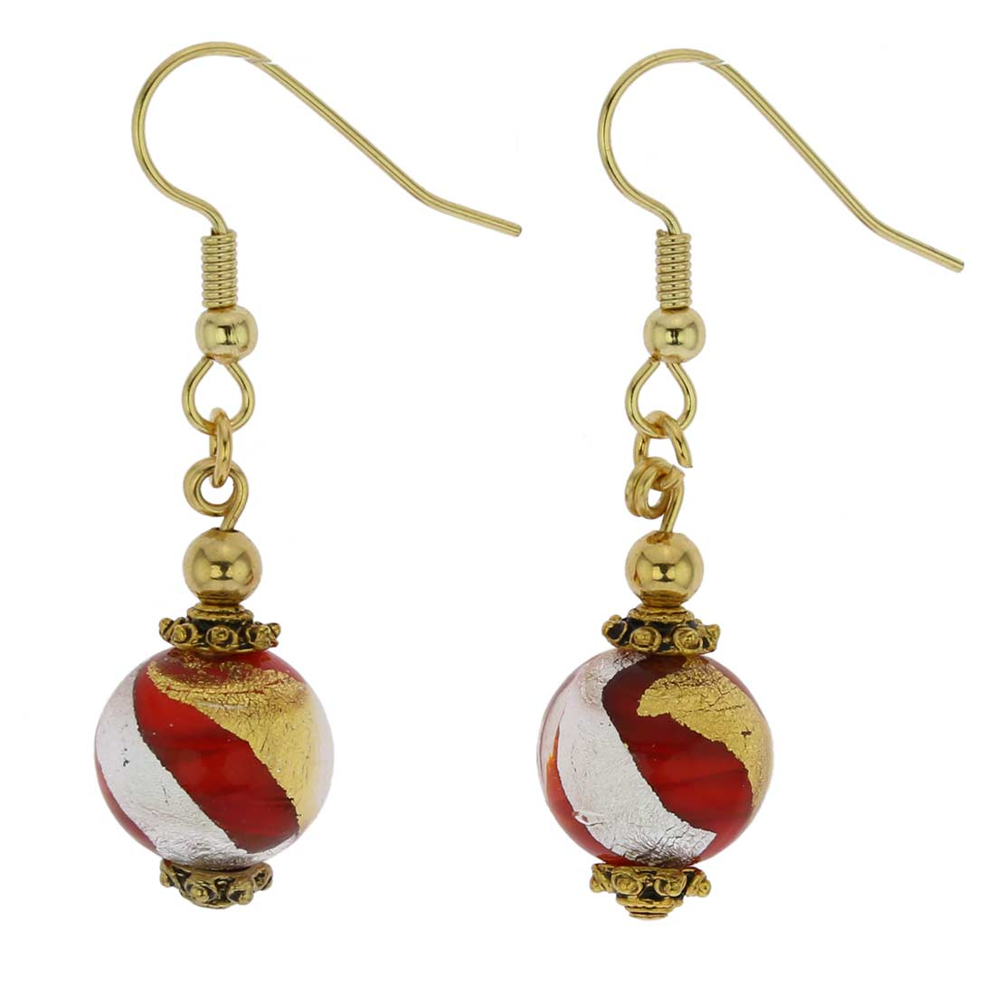 Antico Tesoro Balls Earrings - Red Gold and Silver