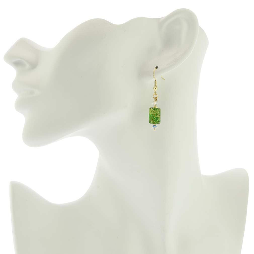 Ca D\'Oro Murano Barrel Earrings - Emerald Green