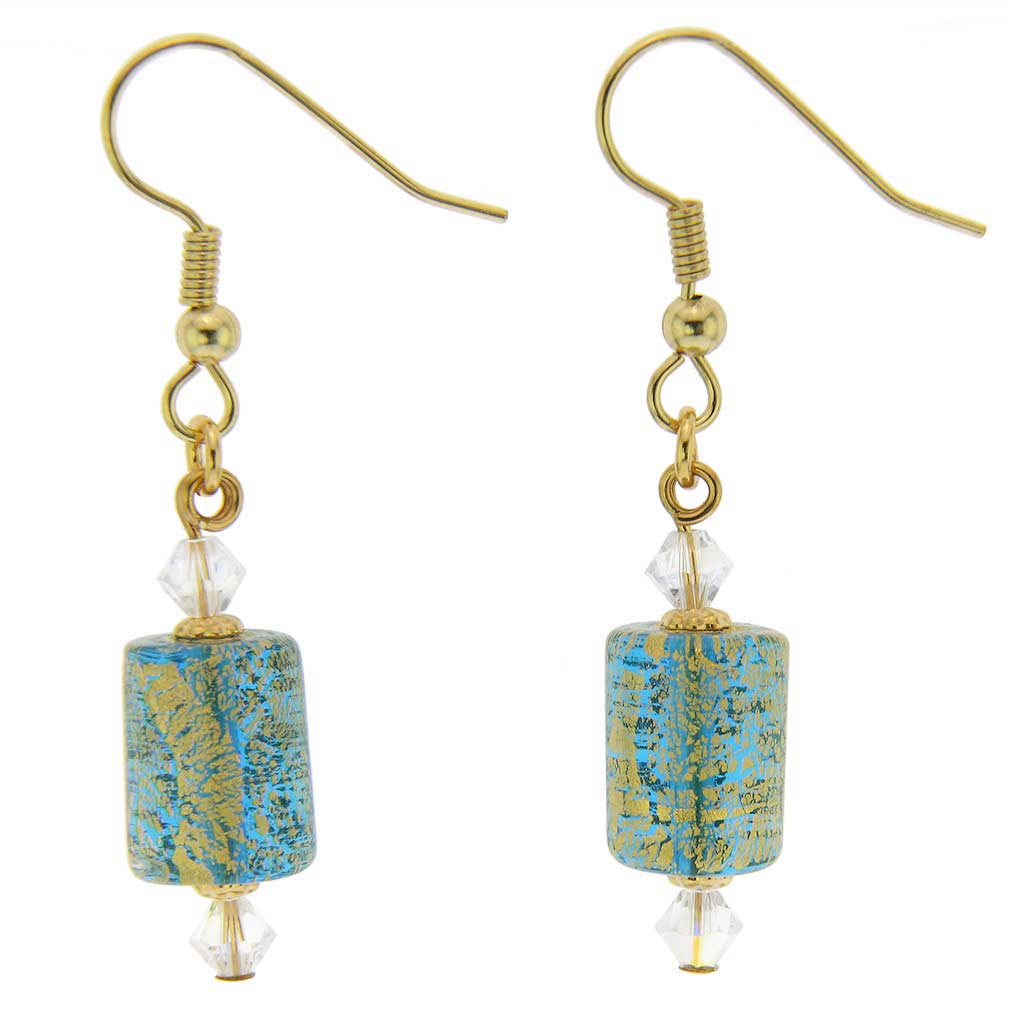 Ca D'Oro Murano Barrel Earrings - Aqua