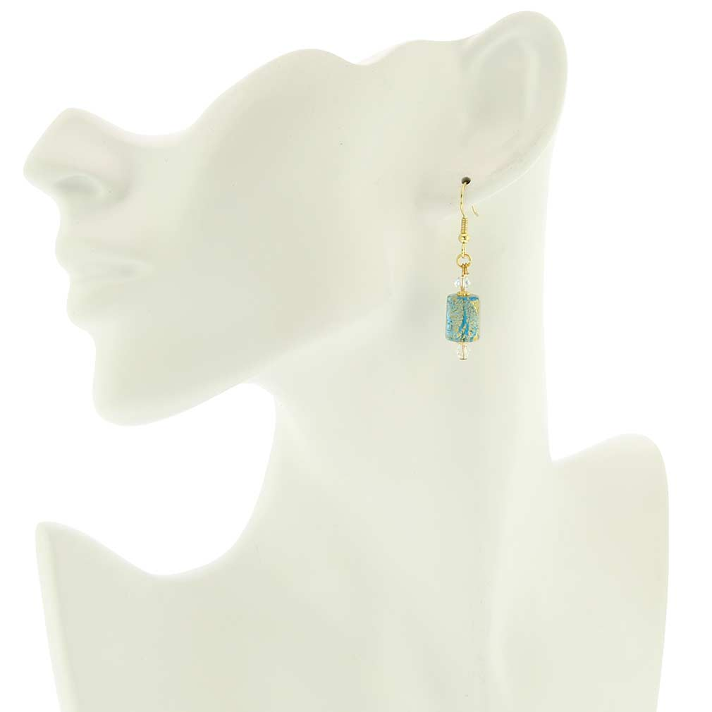Ca D\'Oro Murano Barrel Earrings - Aqua