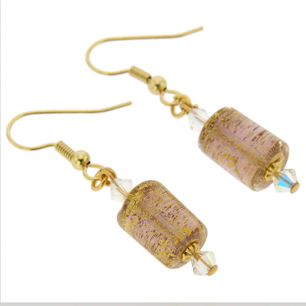 Ca D\'Oro Murano Barrel Earrings - Purple