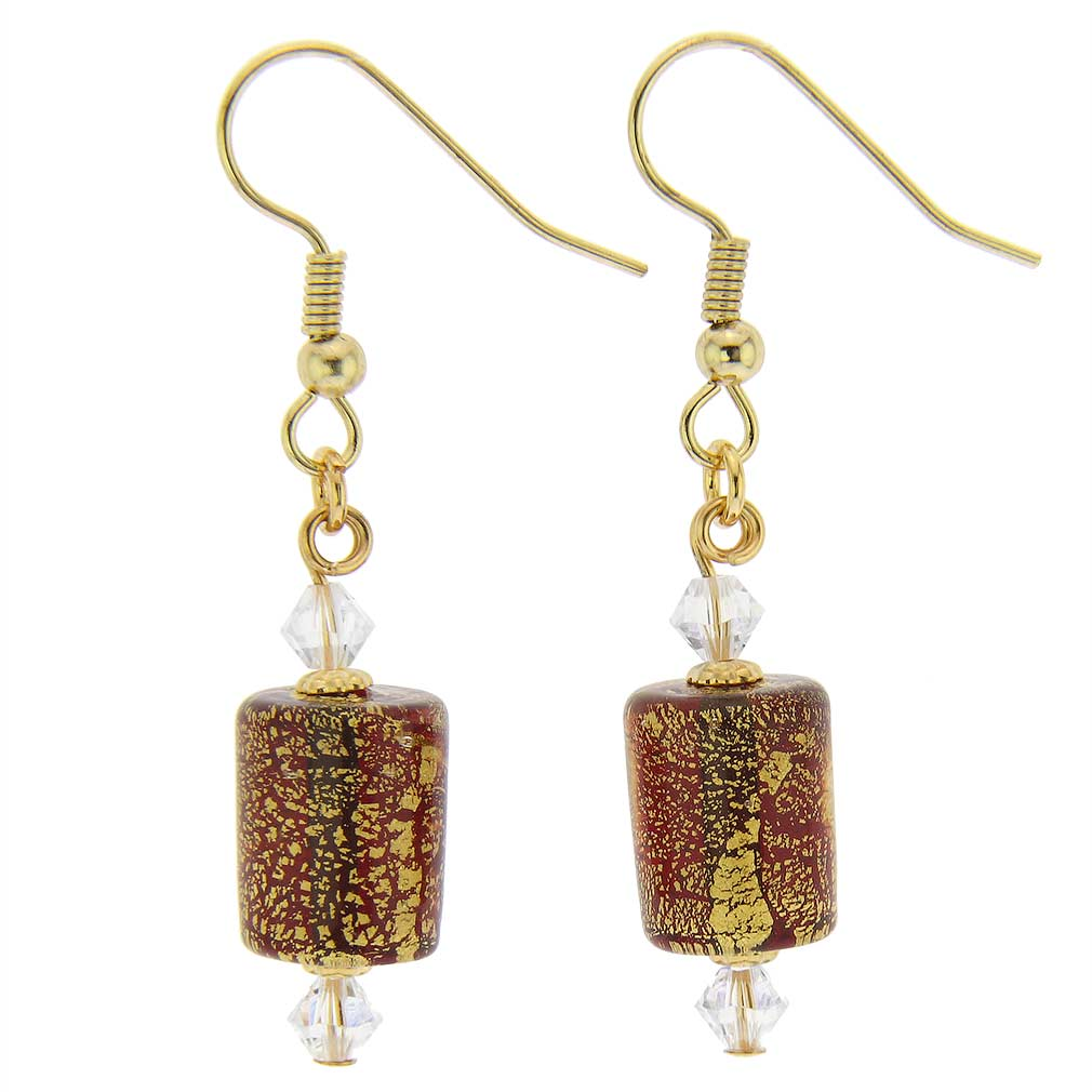 Ca D\'Oro Murano Barrel Earrings - Ruby Red