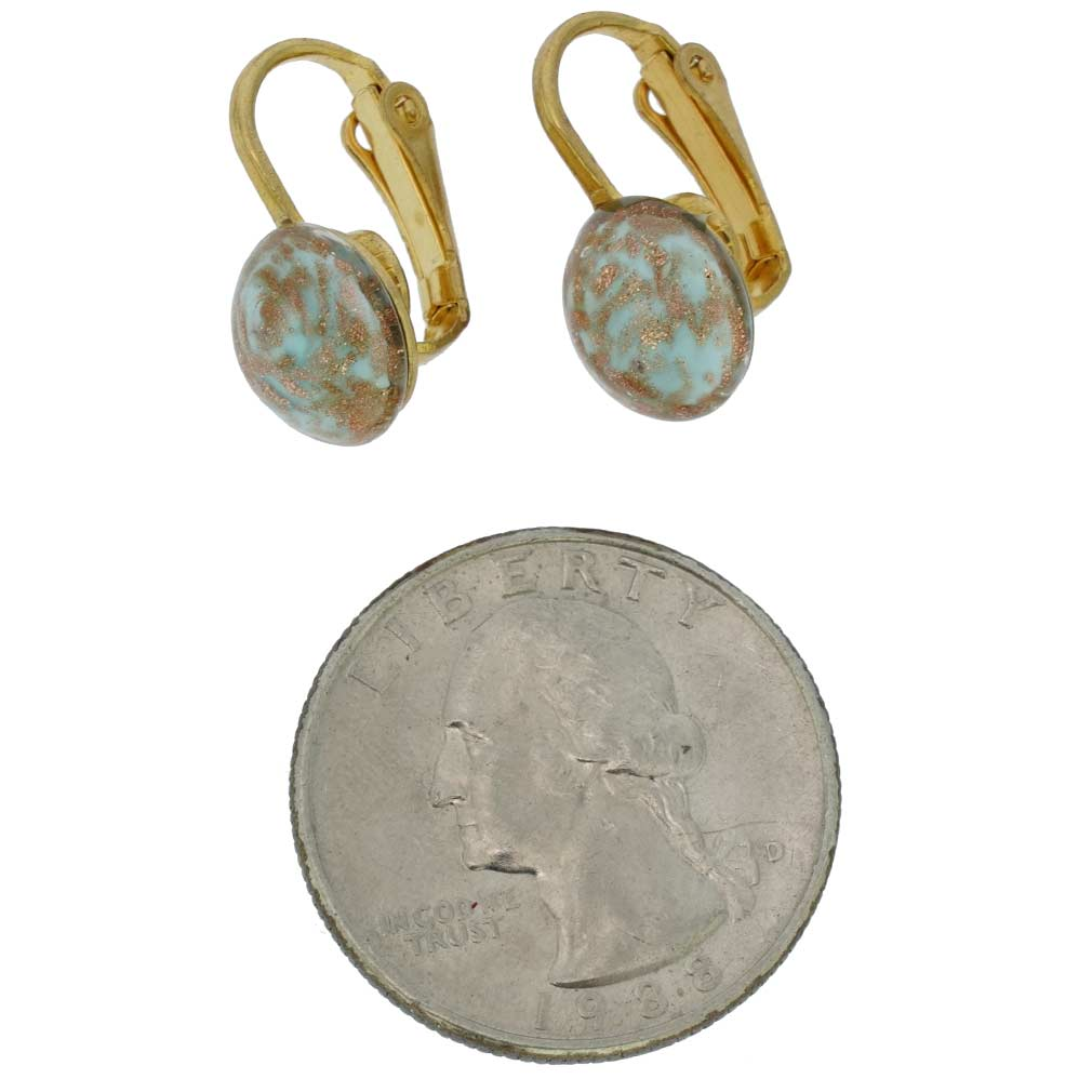 Murano Sparkles Cabochon Clip Earrings - Sky Blue
