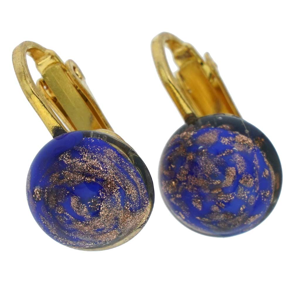 Murano Sparkles Cabochon Clip Earrings - Navy Blue