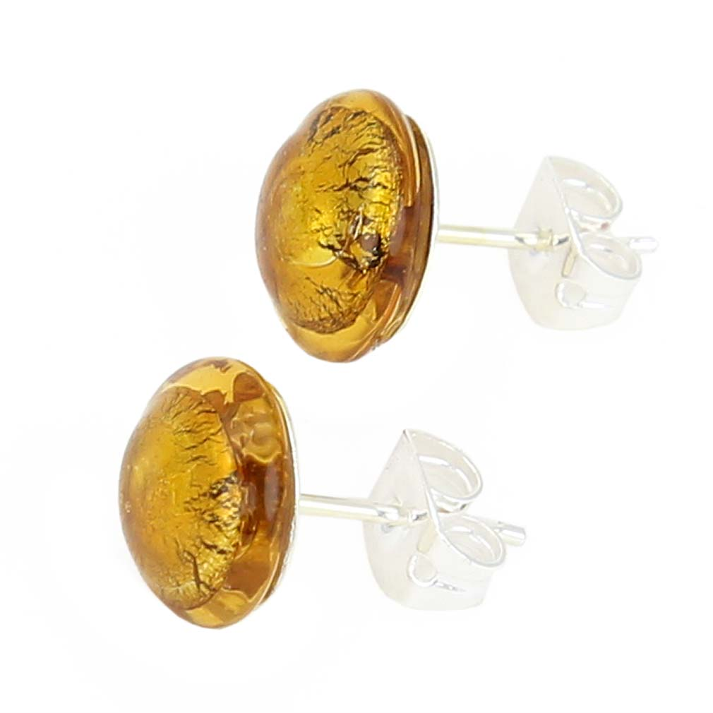 Murano Button Stud Earrings - Topaz Silver