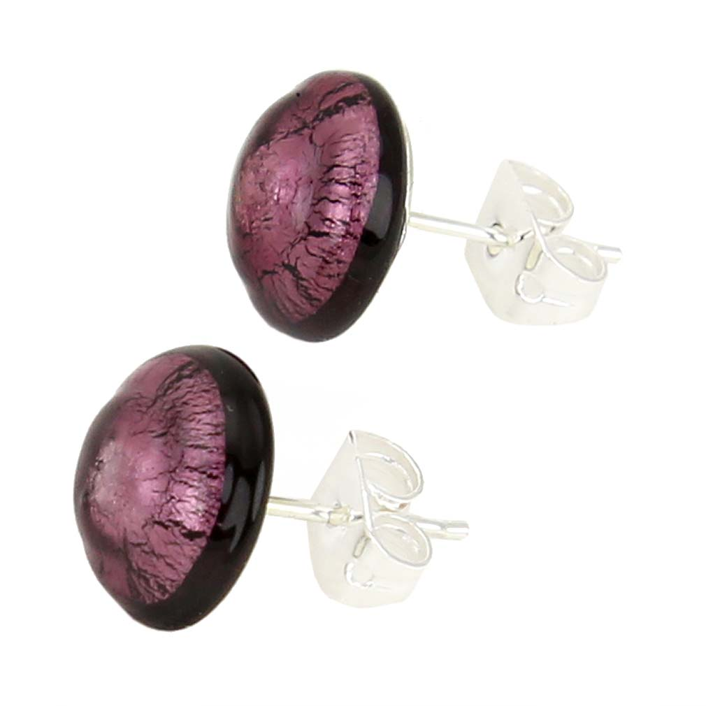 Murano Button Stud Earrings - Purple