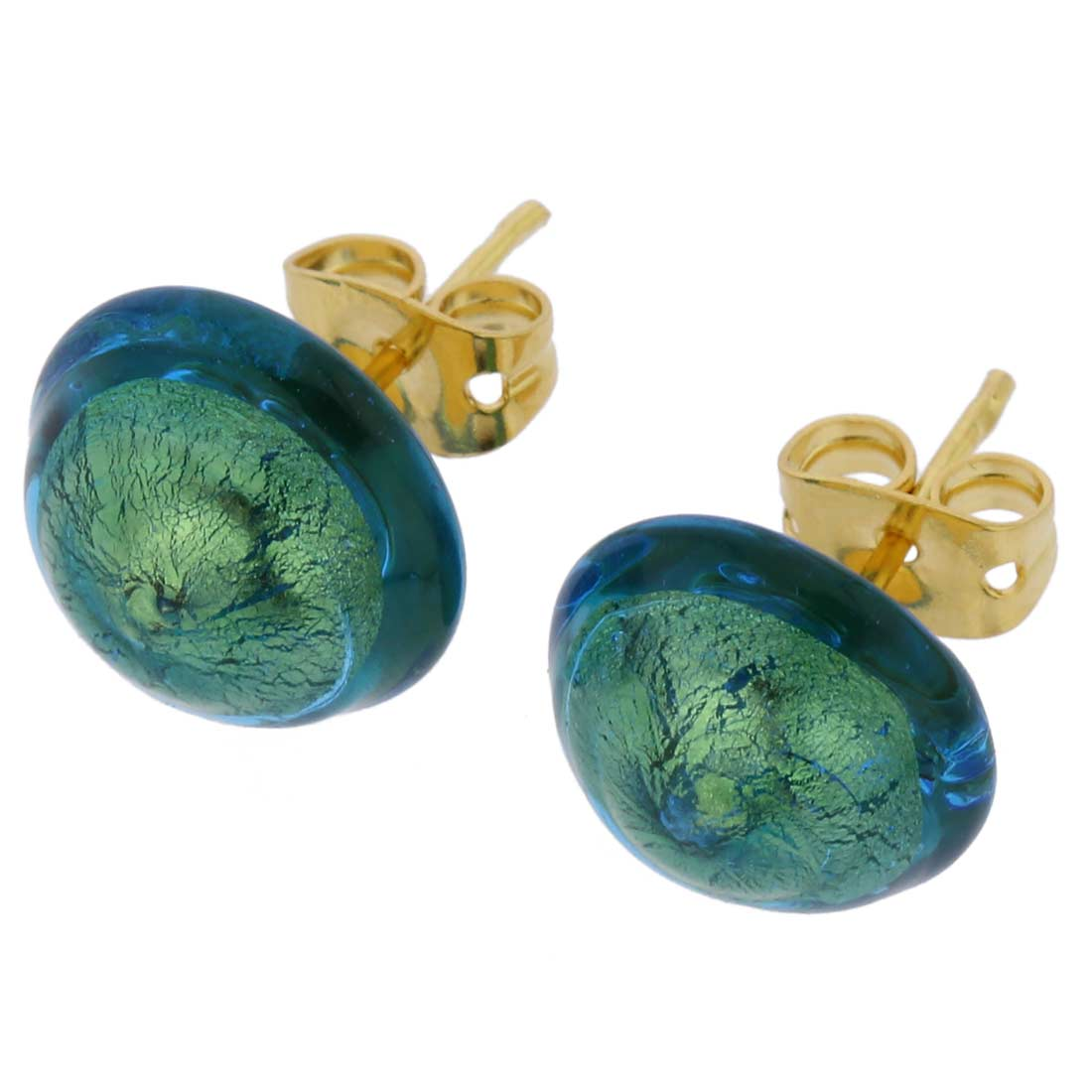 Murano Button Stud Earrings - Aqua Gold