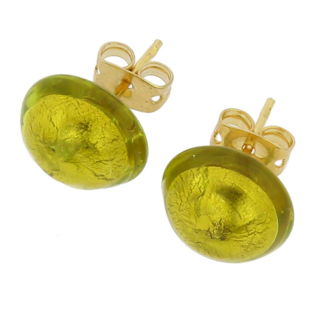 Murano Button Stud Earrings - Herb Green Gold
