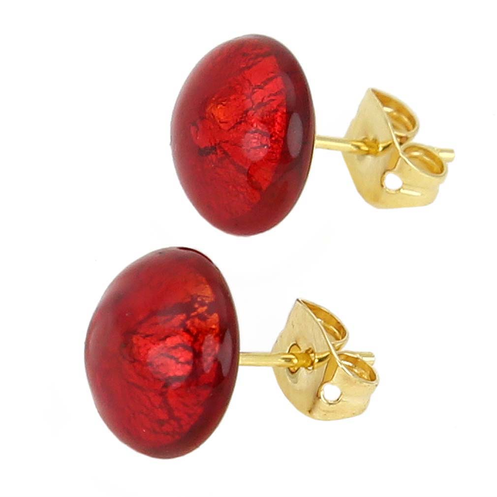 Murano Button Stud Earrings - Red Gold