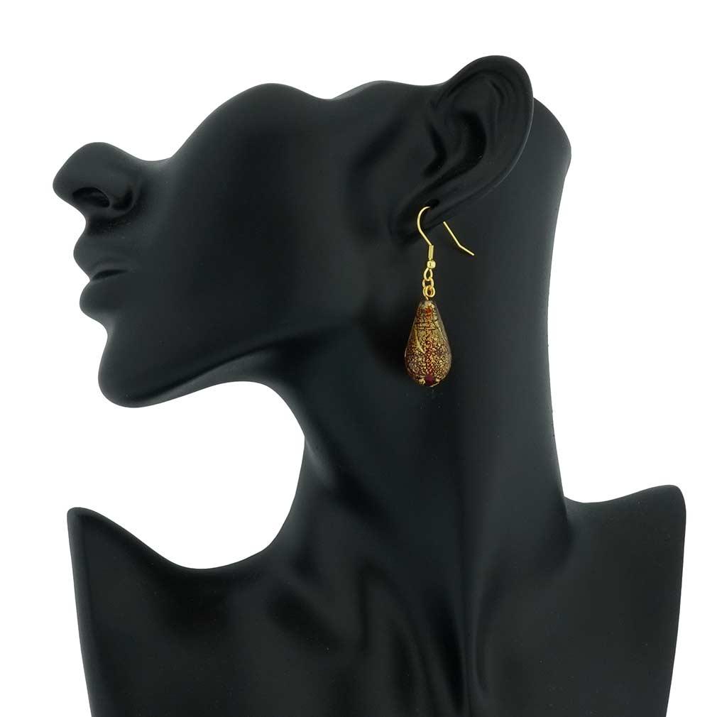 Ca D\'Oro Drop Earrings - Ruby Red