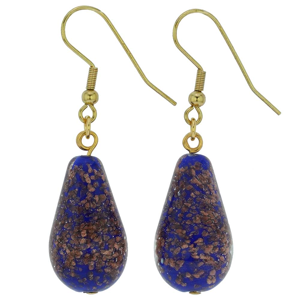 Murano Teardrop Earrings - Navy Blue