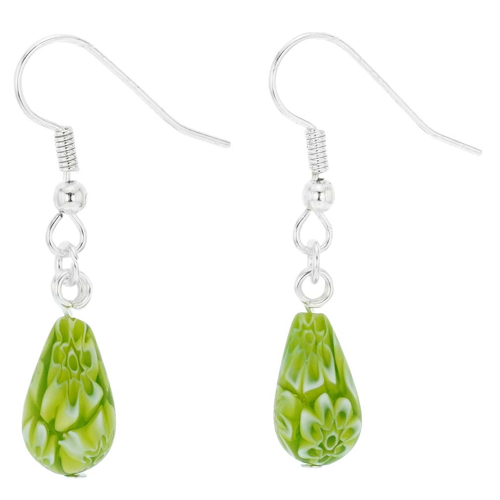 Murano Mosaic Small Millefiori Drop Earrings - Green