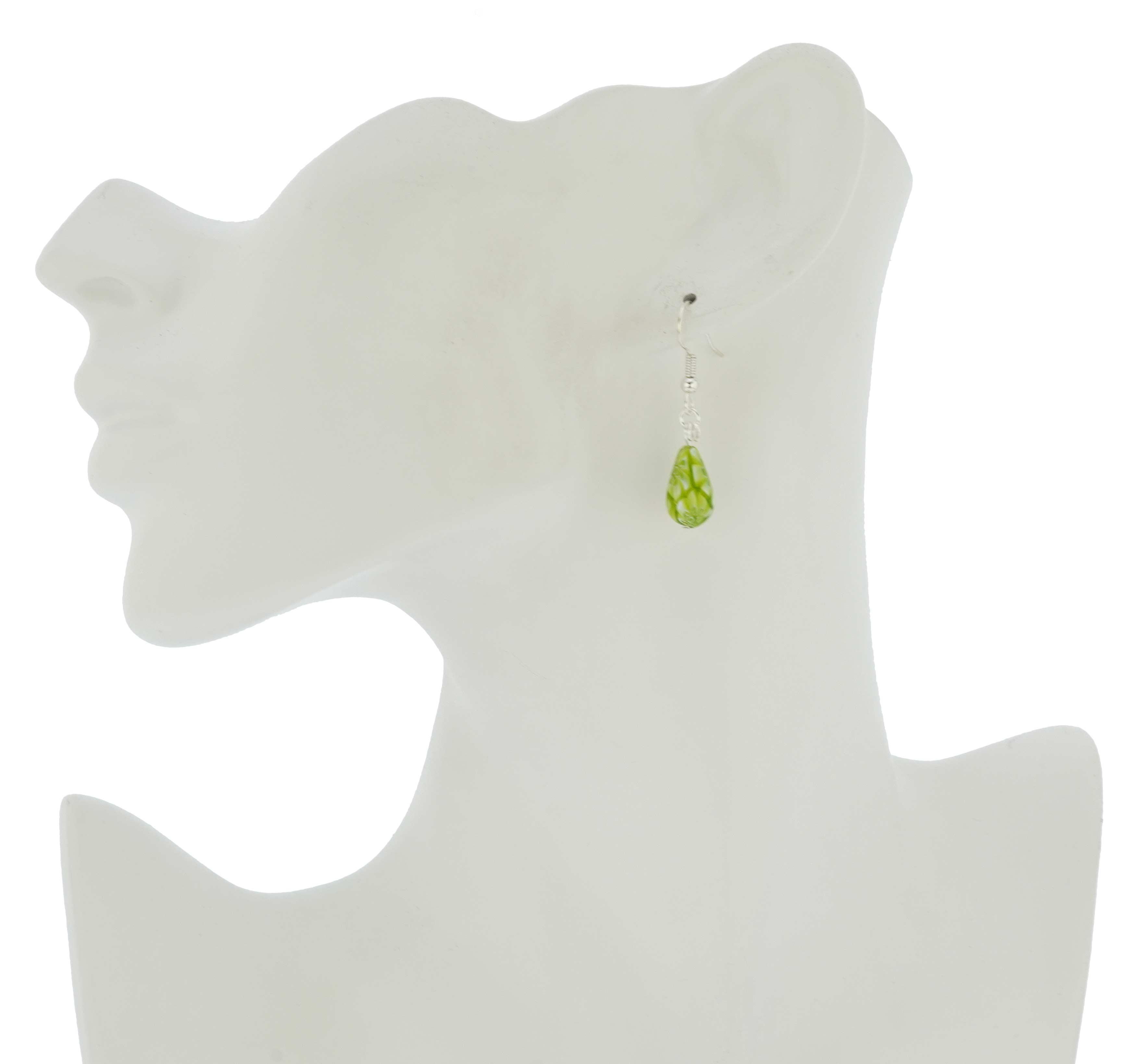Murano Mosaic Small Millefiori Drop Earrings - Green
