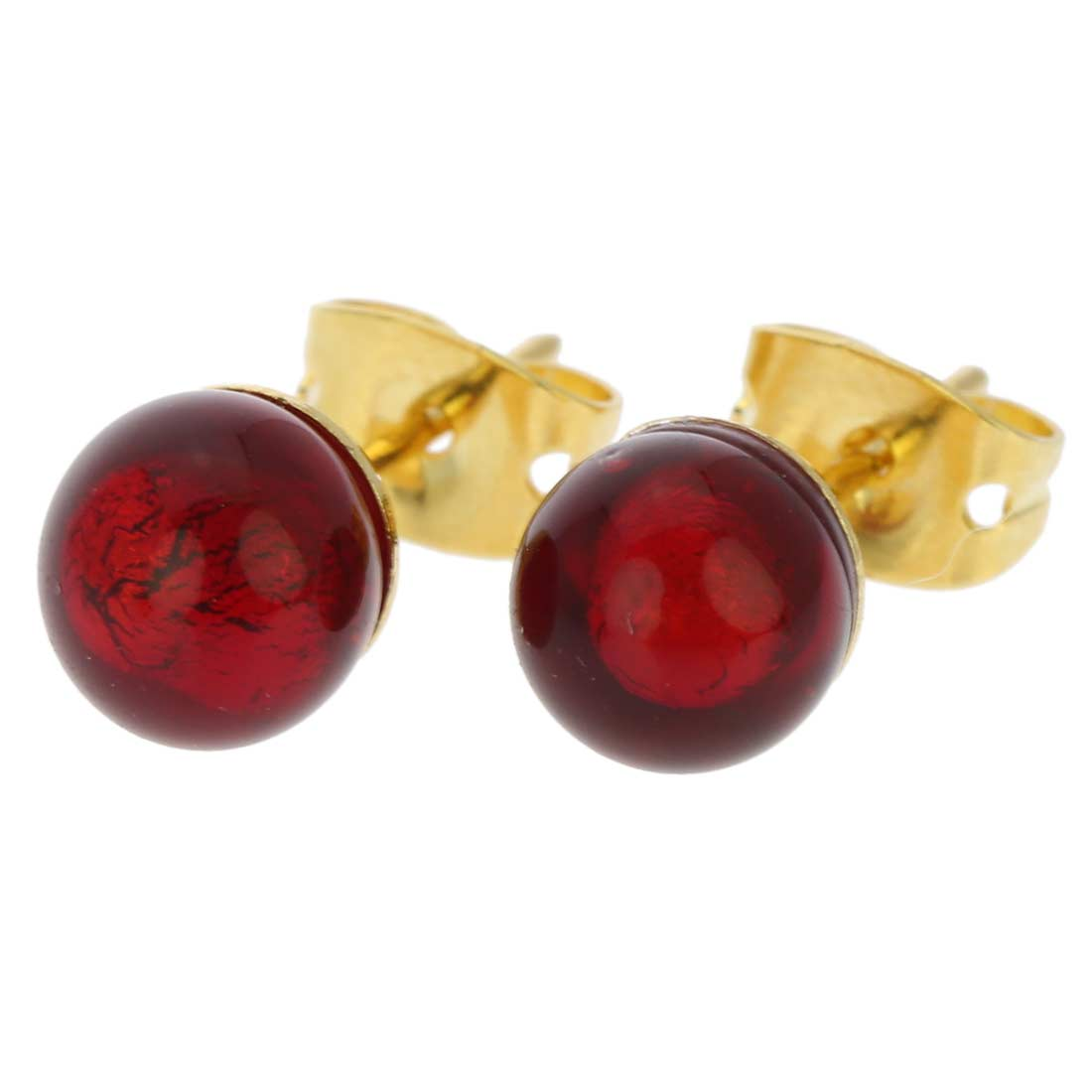 Murano Tiny Stud Earrings - Ruby Red