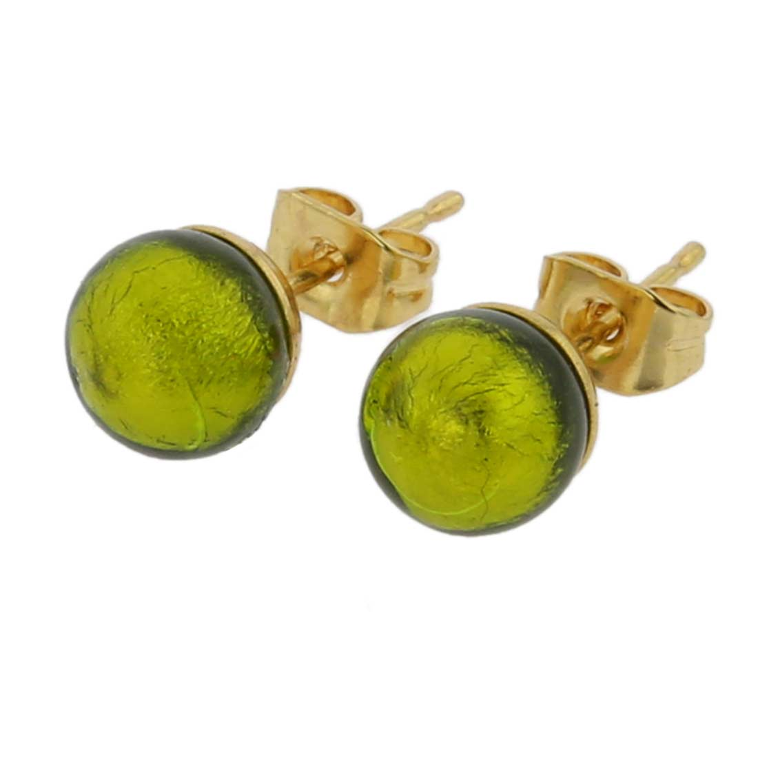 Murano Tiny Stud Earrings - Herb Green