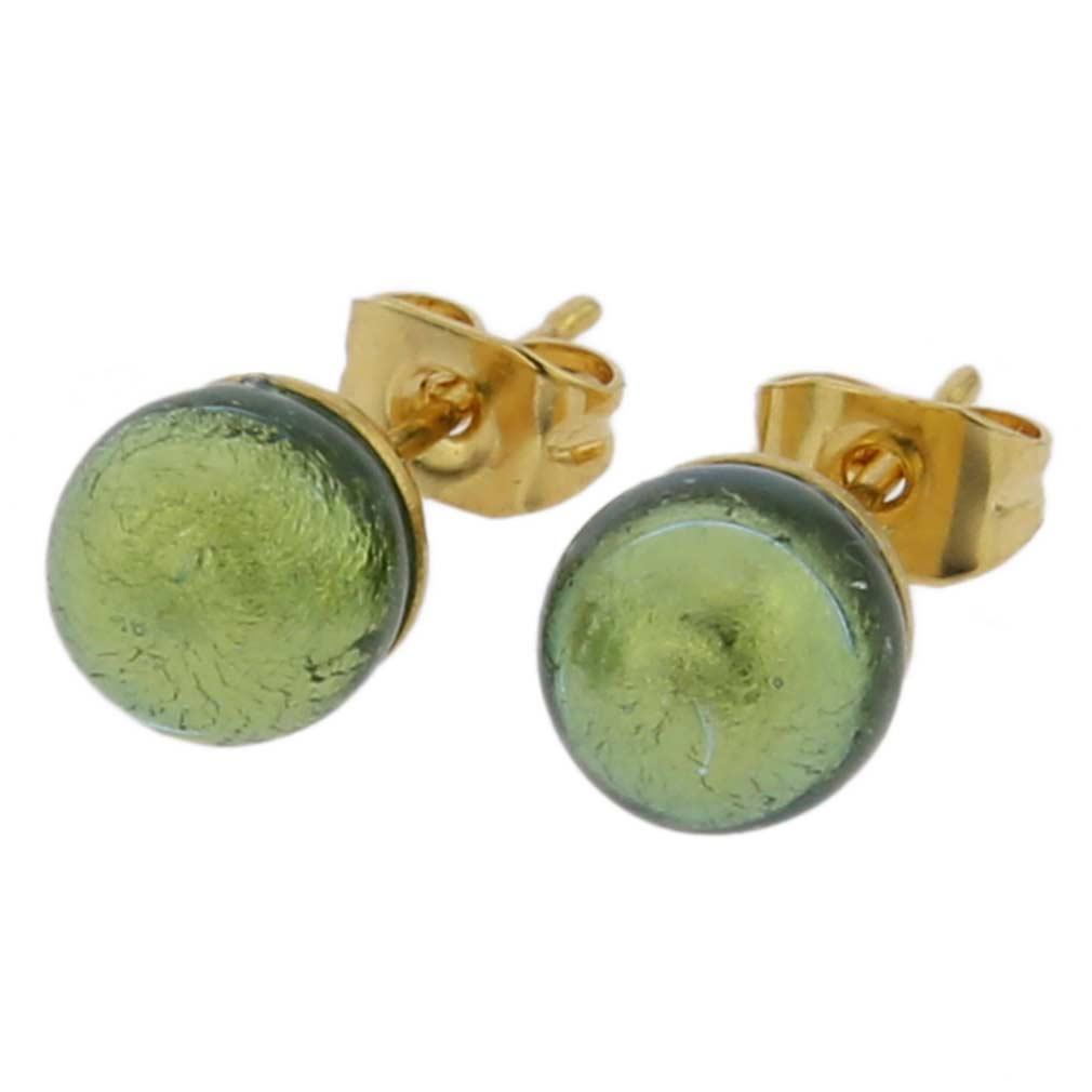 Murano Tiny Stud Earrings - Golden Aqua
