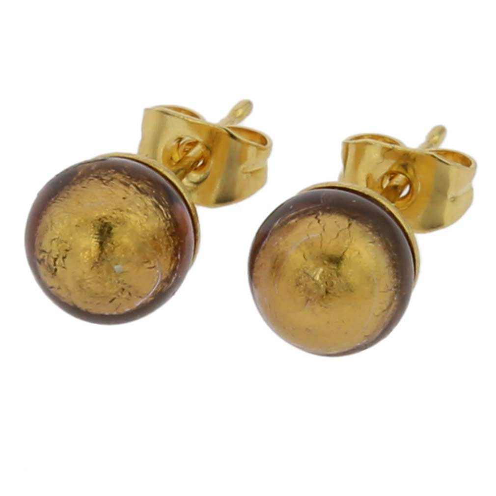 Murano Tiny Stud Earrings - Golden Mocha