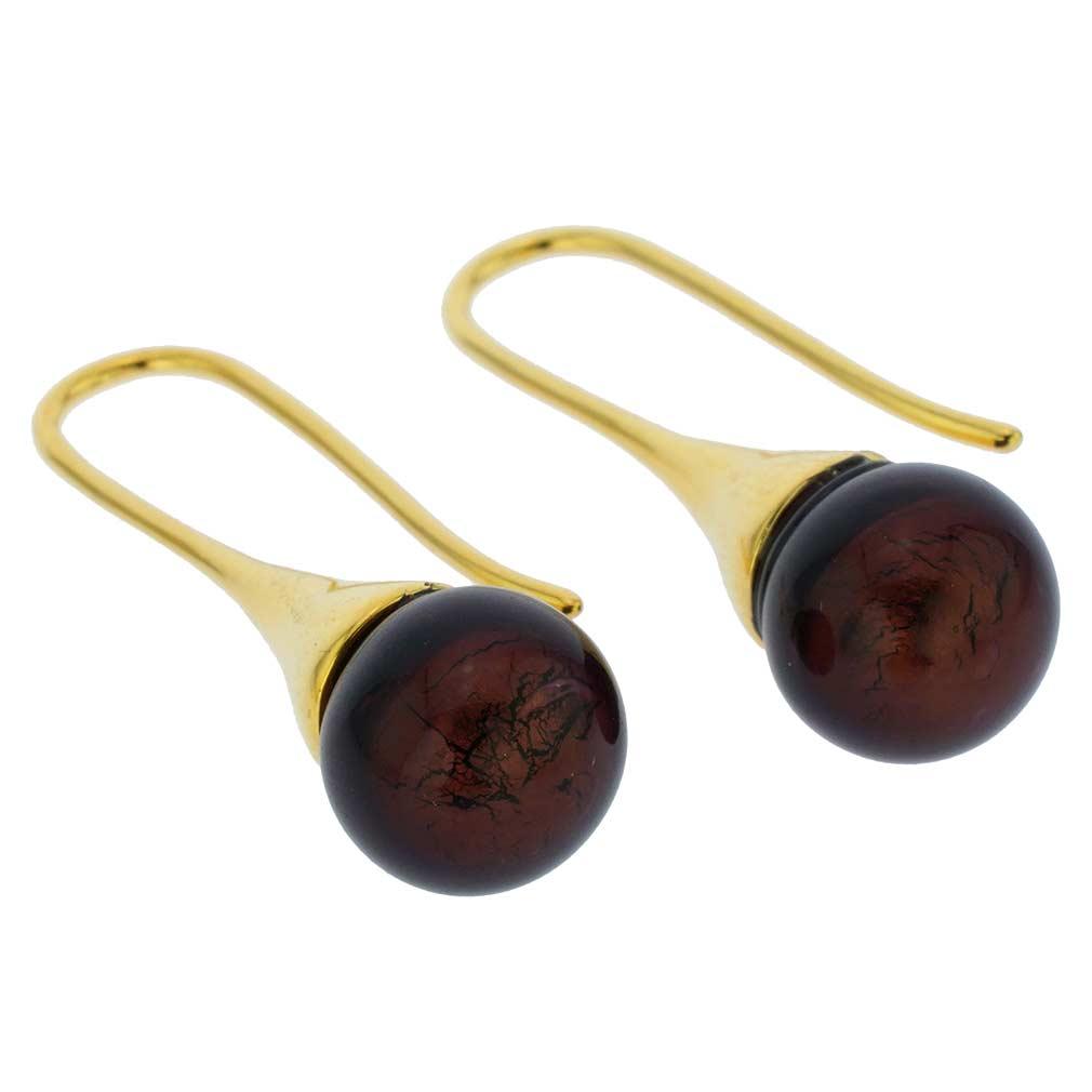 Murano Gold Drop Earrings - Purple