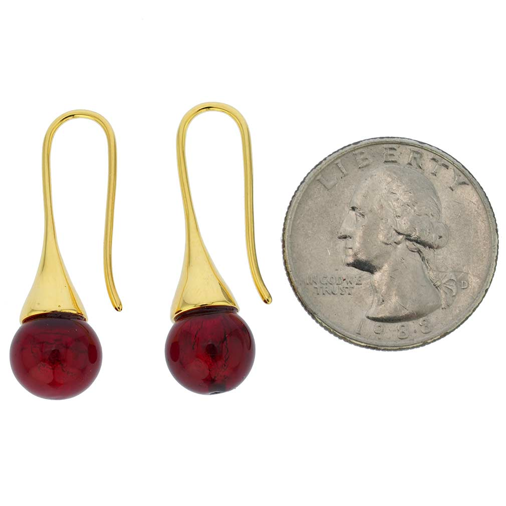 Murano Gold Drop Earrings - Ruby Red