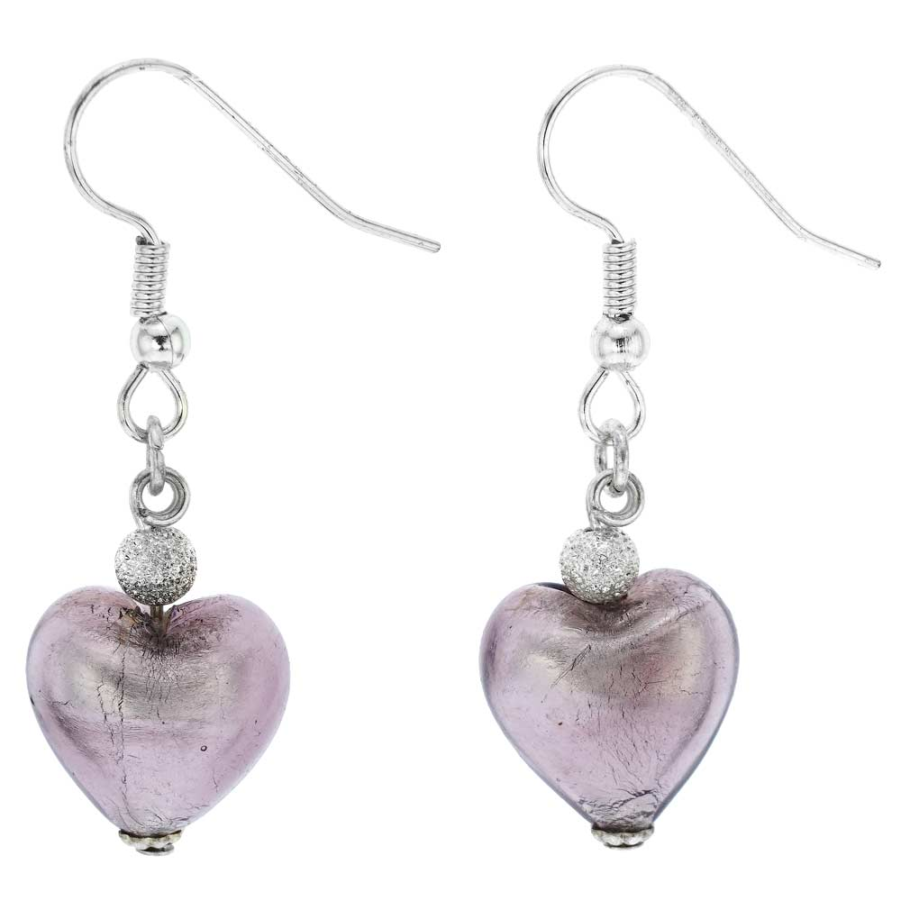 Murano Heart Earrings - Light Purple