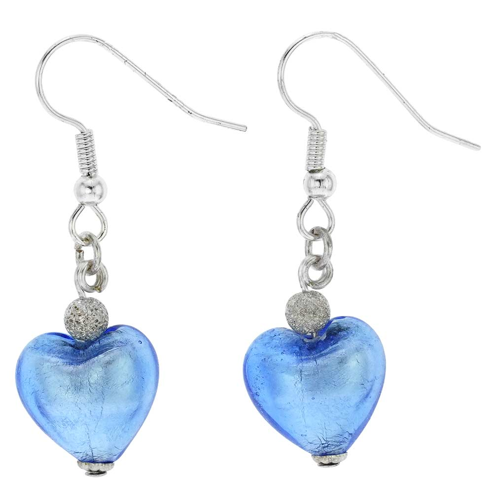 Murano Heart Earrings - Silver Ice