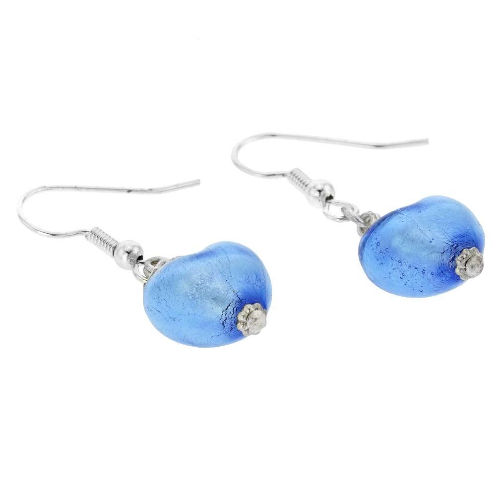 Murano Heart Earrings - Silver Ice