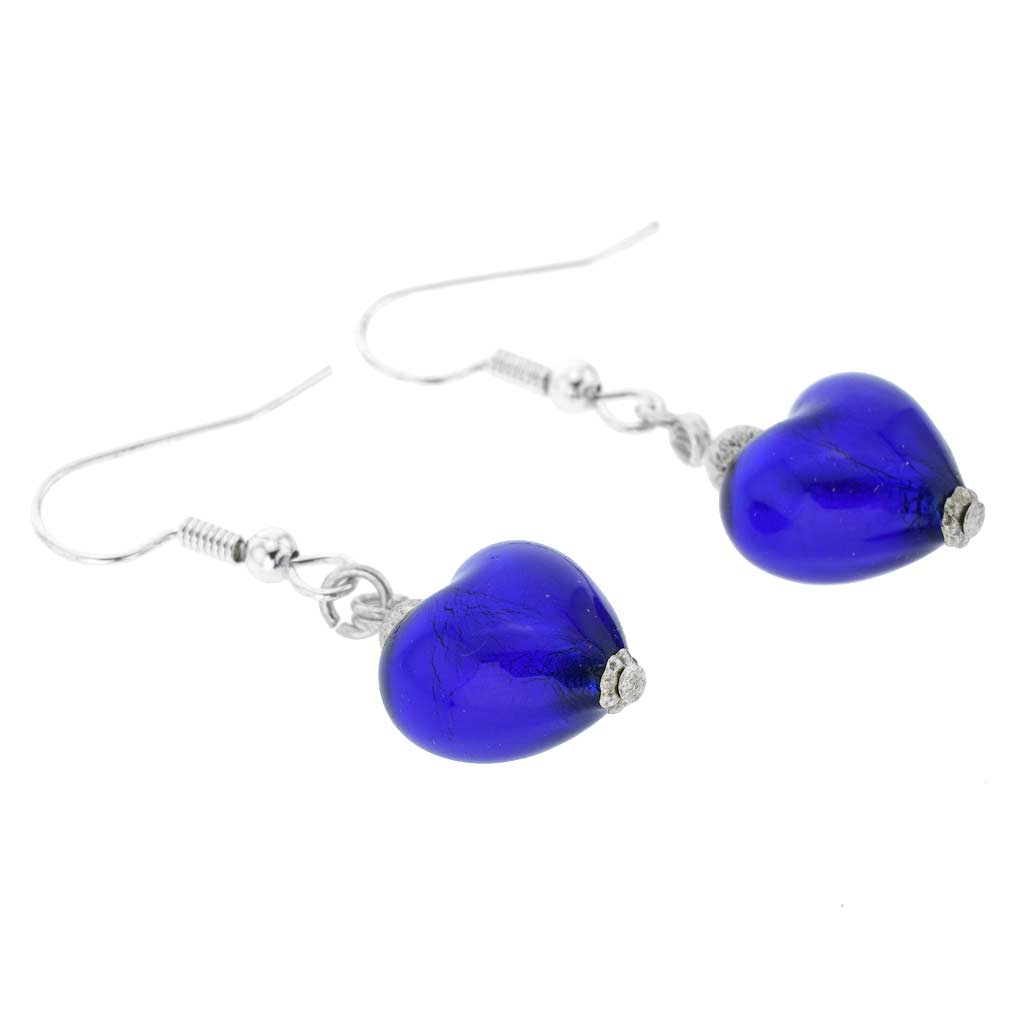 Murano Heart Earrings - Blue