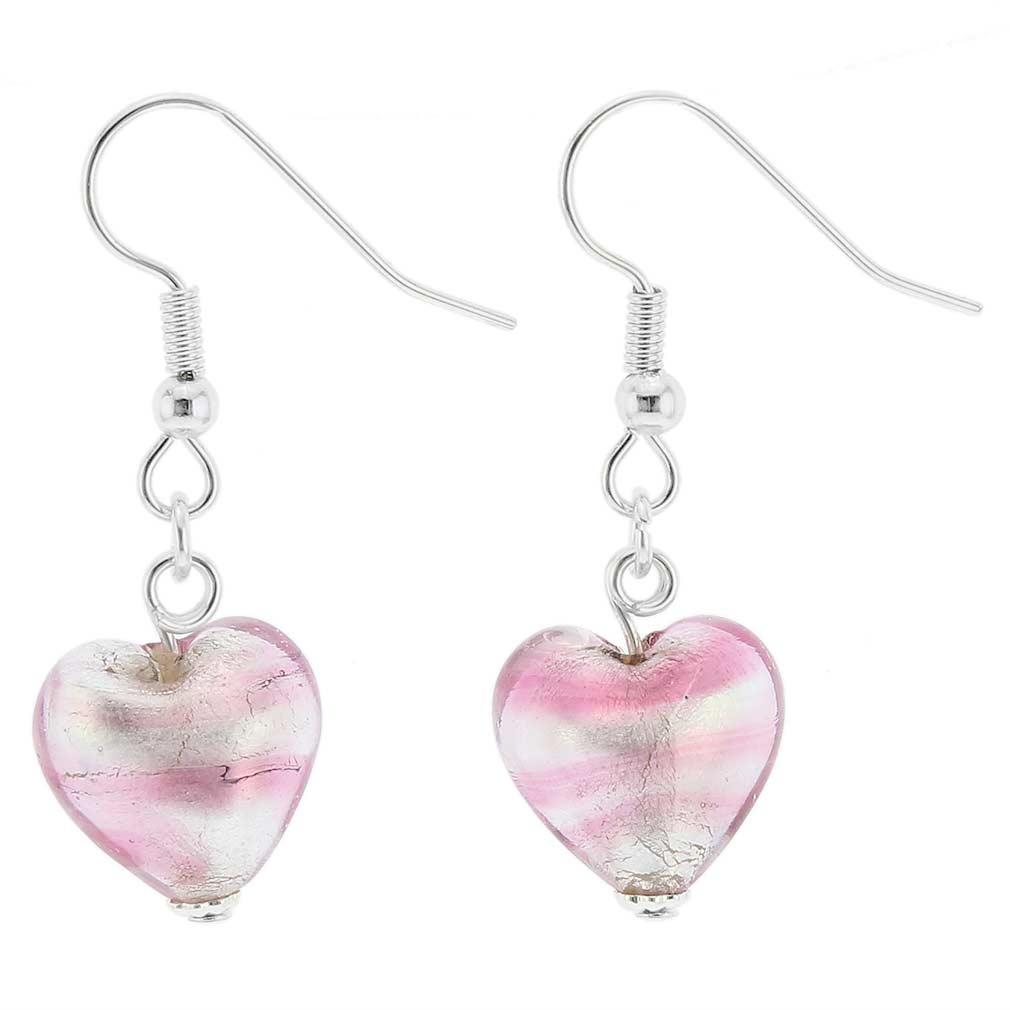 Murano Heart Earrings - Striped Silver Pink