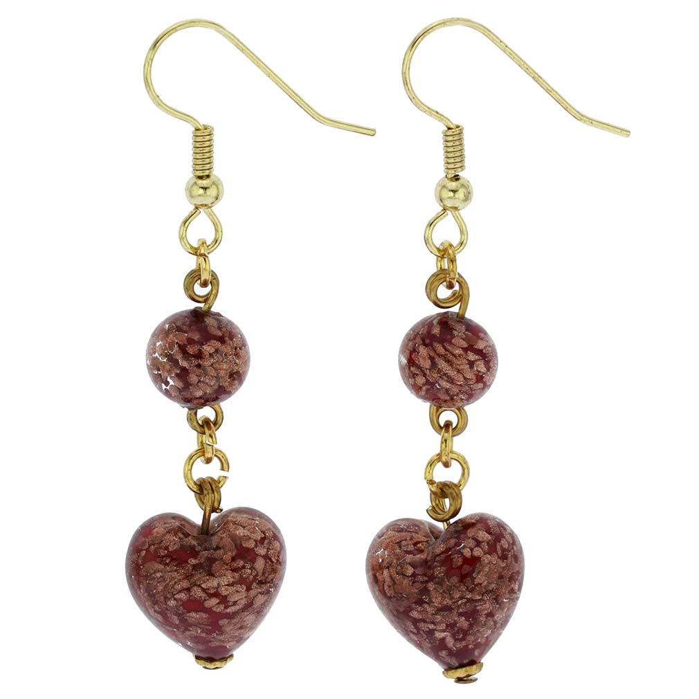 Starlight Heart Dangle Earrings - Red