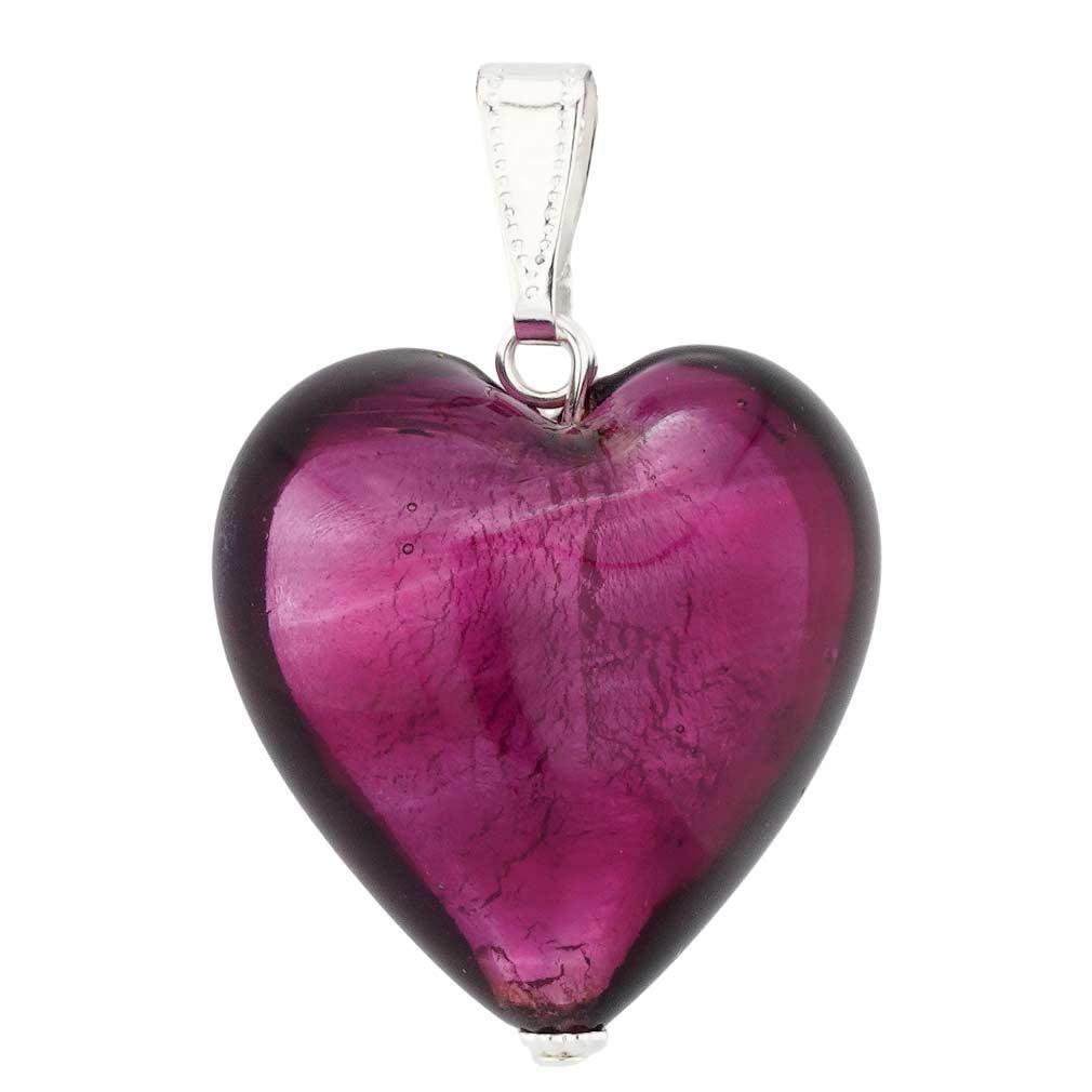 Murano Heart Pendant - Silver Purple