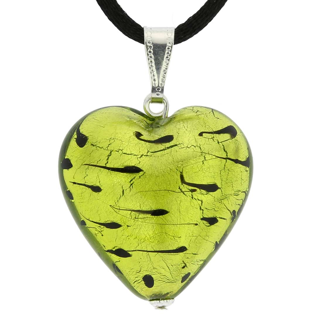 Murano Heart Pendant - Spotted Silver Green