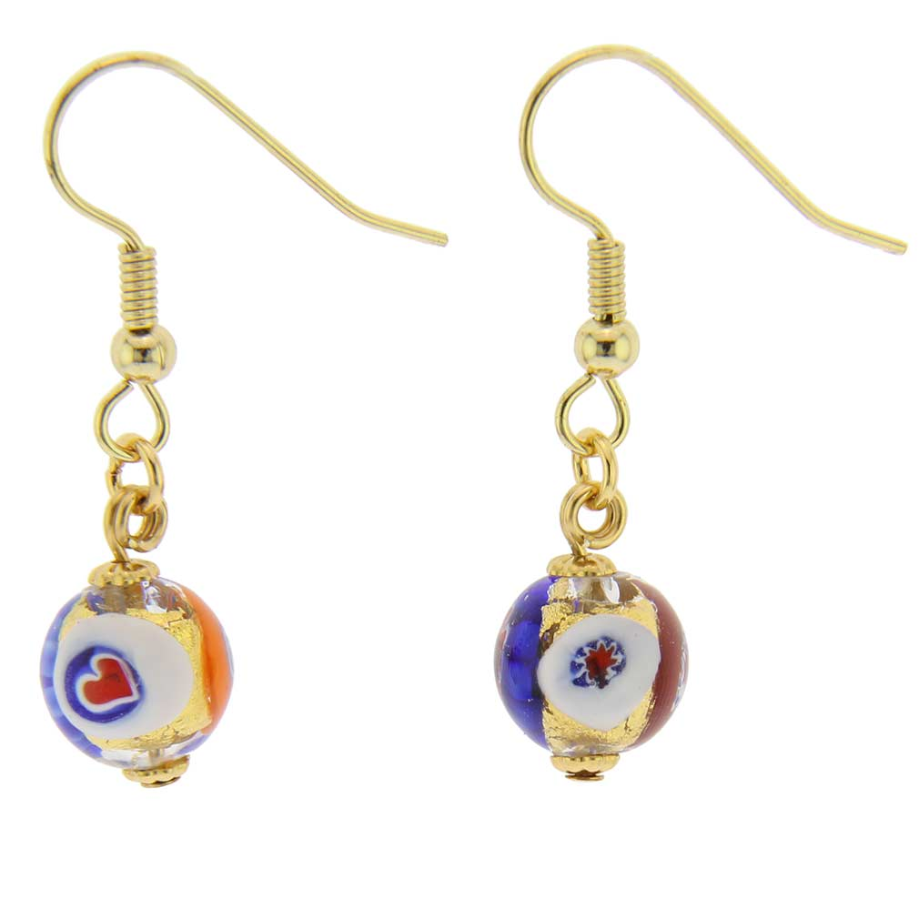 Murano Mosaic Millefiori Ball Earrings - Klimt
