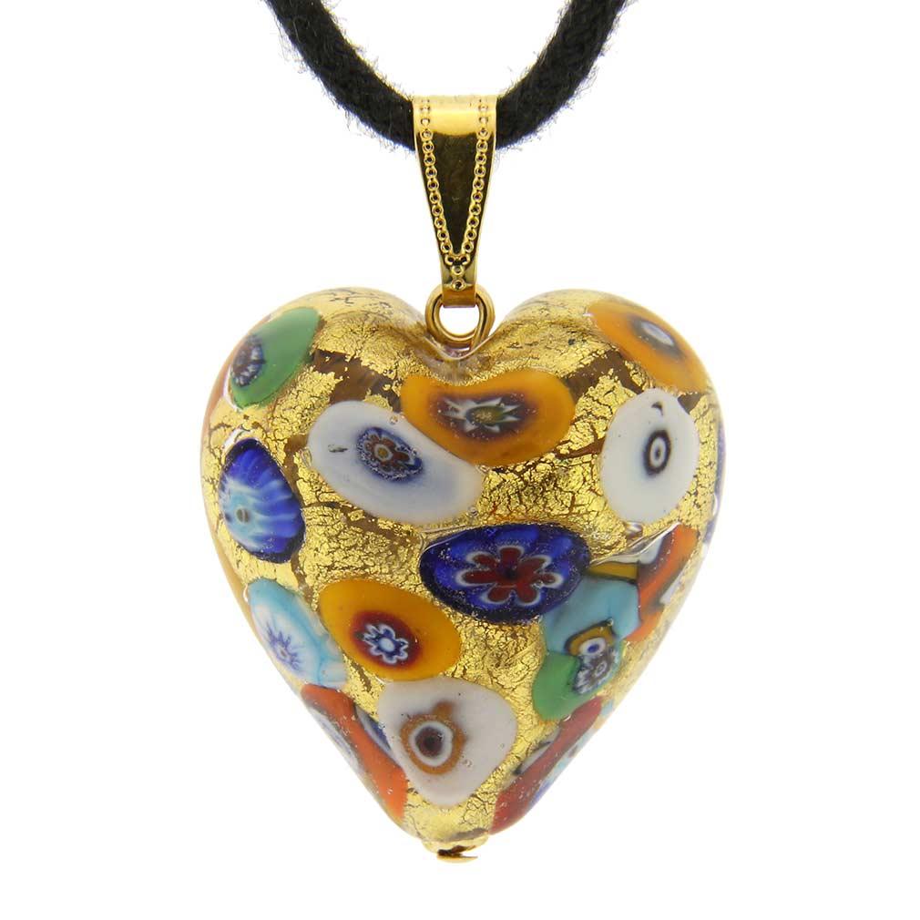 Murano Heart Pendant - Klimt
