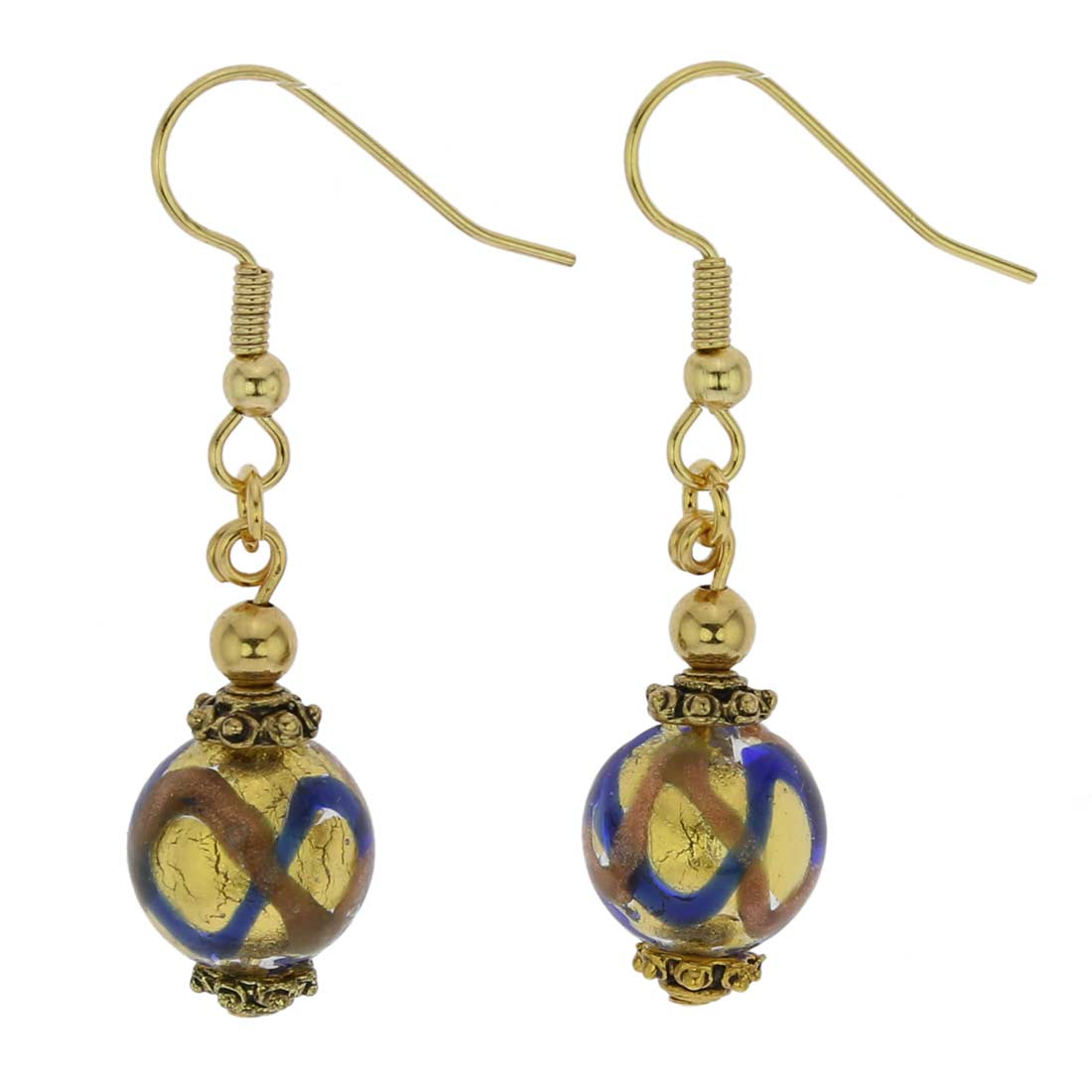 Antico Tesoro Balls Earrings - Blue Waves Gold