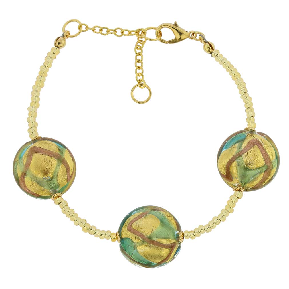 Royal Murano Bracelet - Aqua Waves Gold