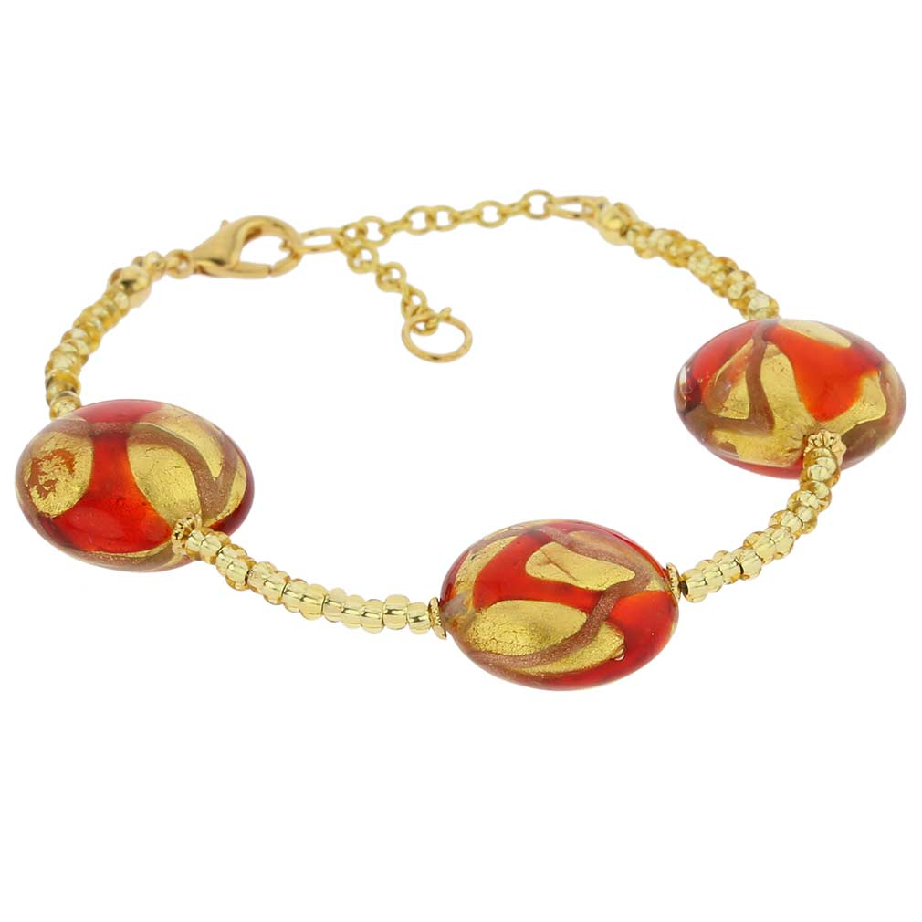 Royal Murano Bracelet - Gold and Red