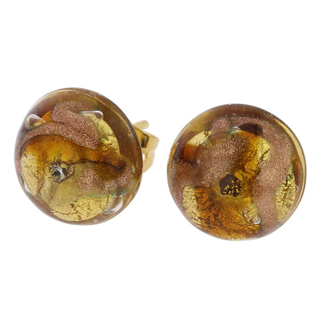 Murano Button Stud Earrings - Gold and Topaz