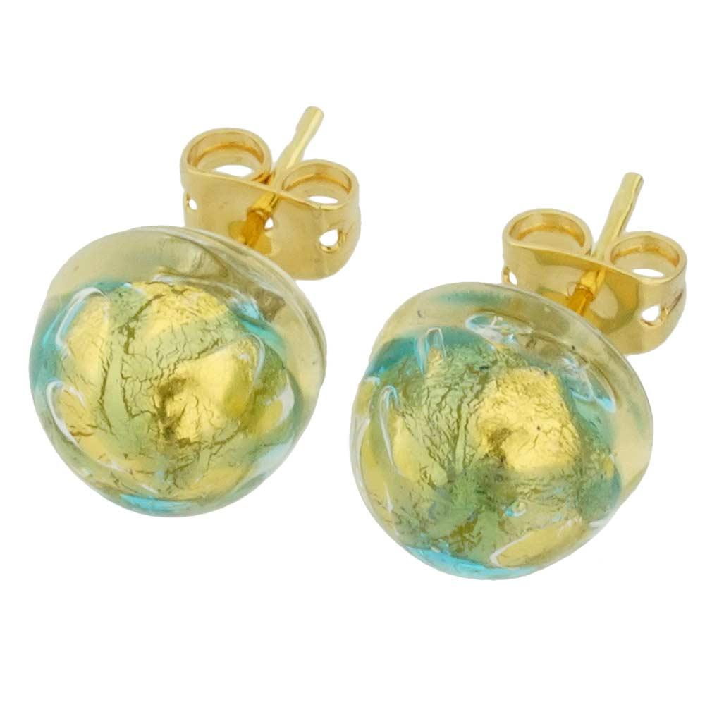 Murano Button Stud Earrings - Royal Aqua