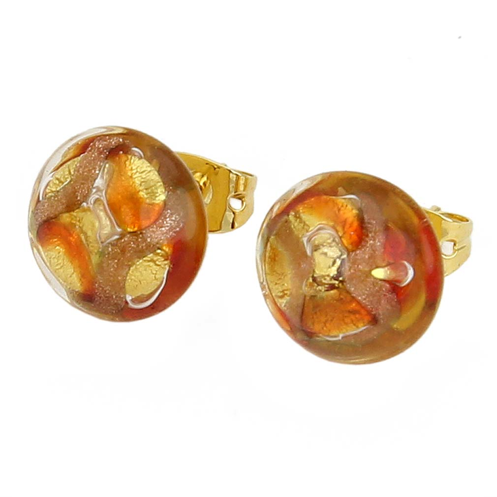 Murano Button Stud Earrings - Gold and Red