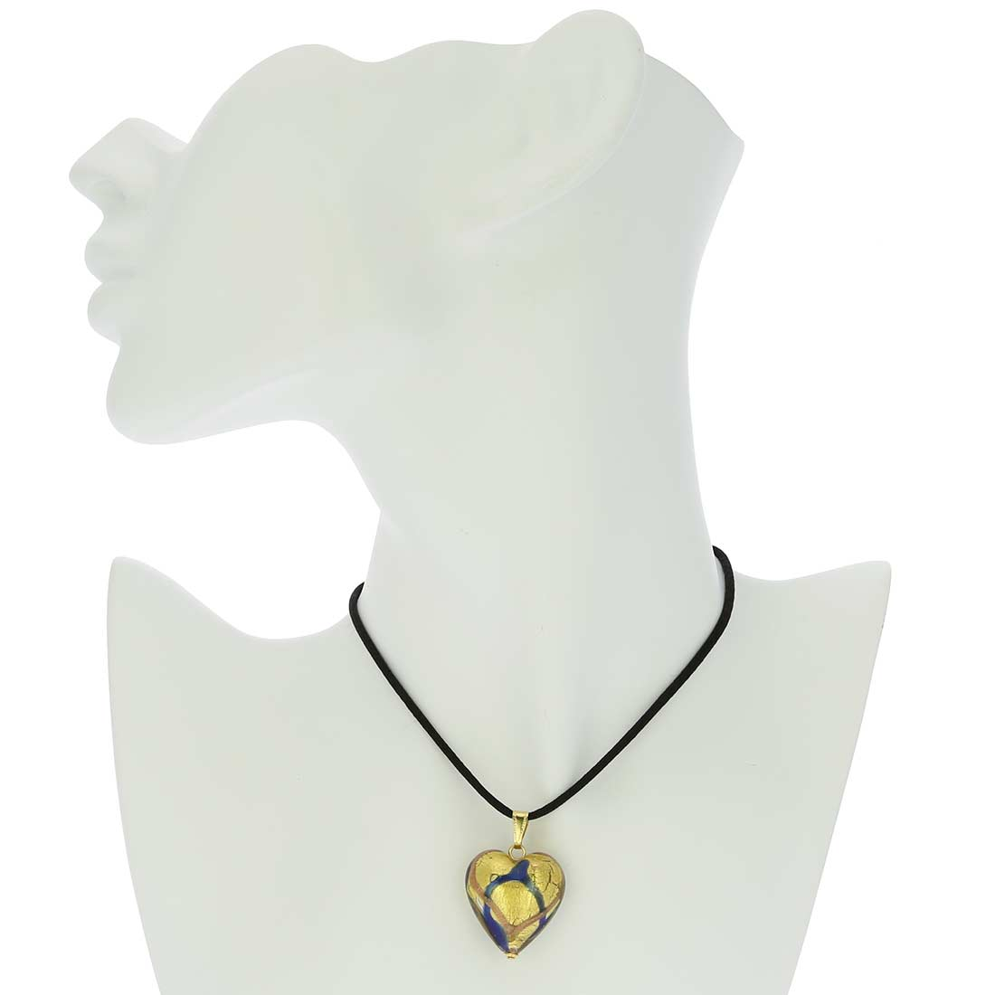 Murano Heart Pendant - Blue Waves Gold