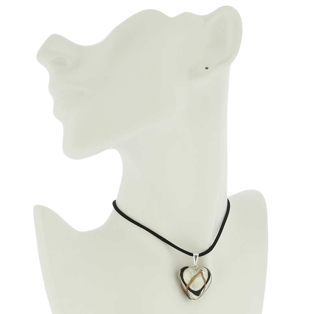 Murano Heart Pendant - Black Waves Silver