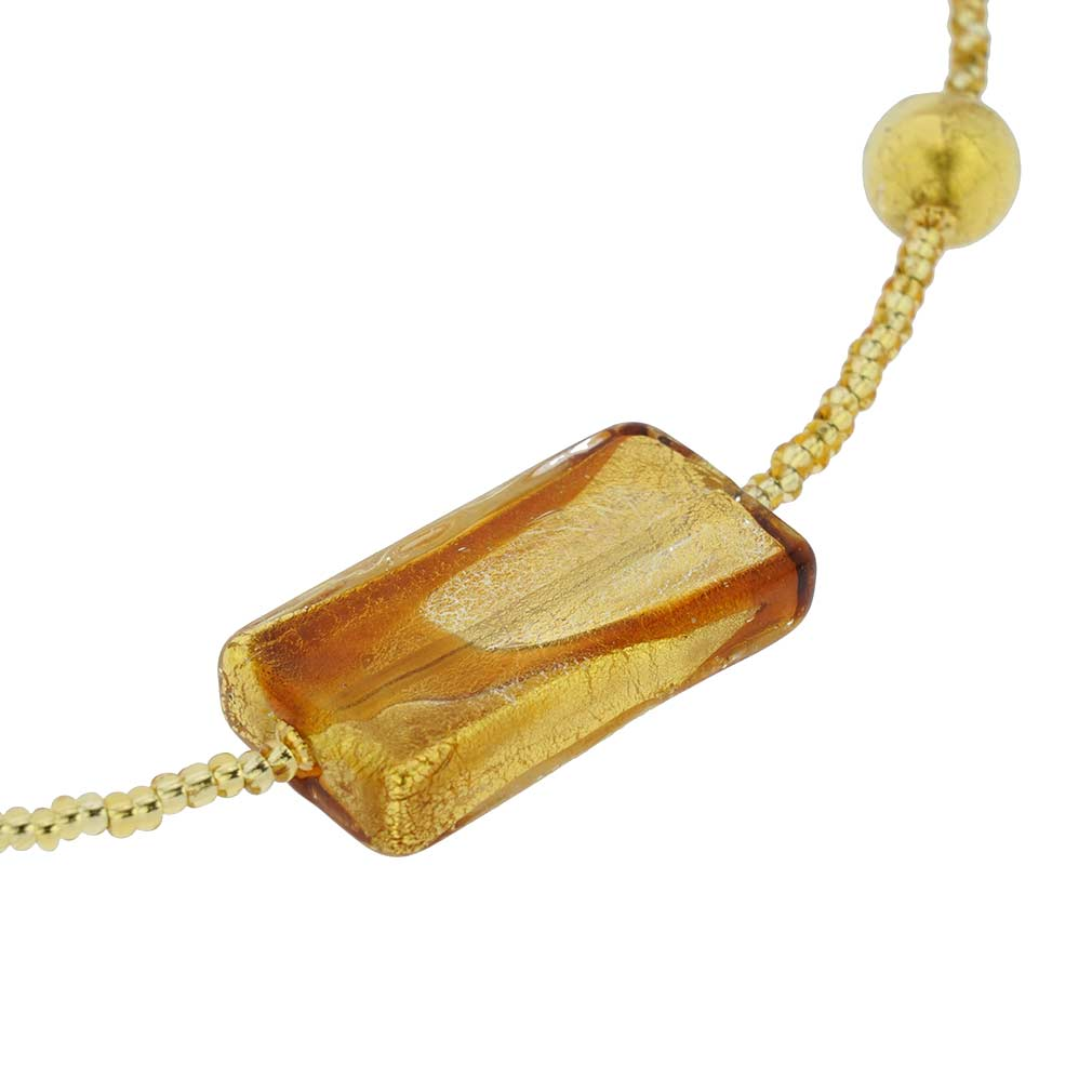 Royal Cognac Gold Rectangles Necklace